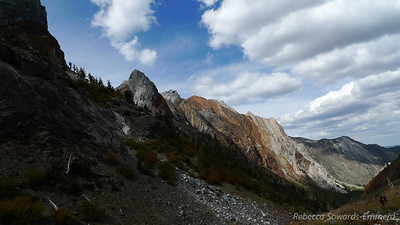 Looking back down the canyon (laurel peak in the sun)