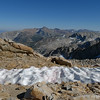 Snowfield below the steep descent from the ridge. Mt Dana in the distance