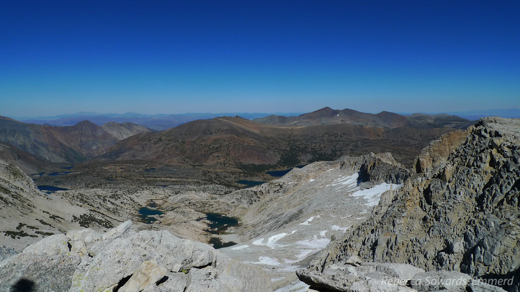 Conness Lakes and the view into 20 Lakes Basin from the summit.