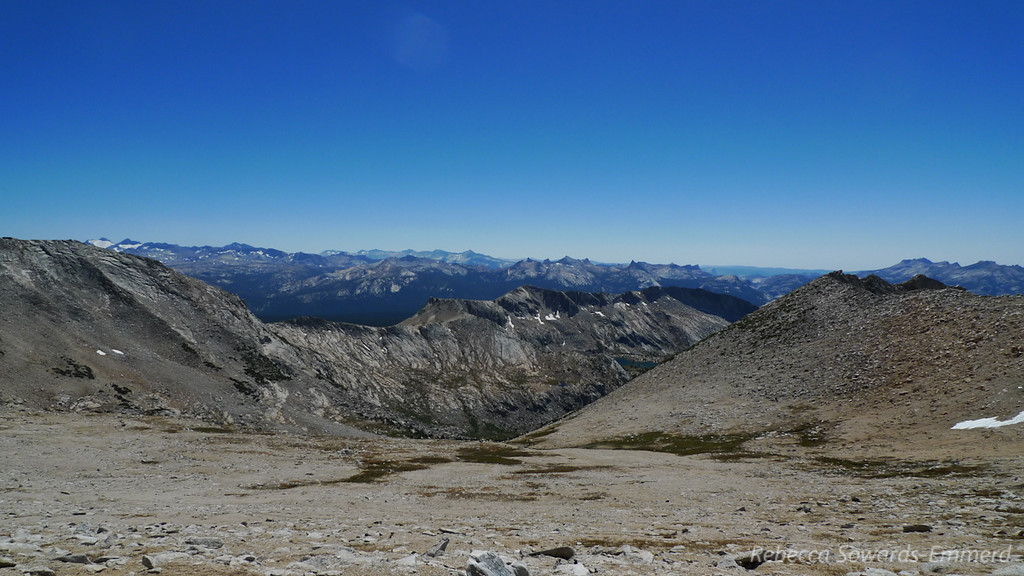 View towards Young Lakes. McClure and lyell glaciers poking out now on the left side.