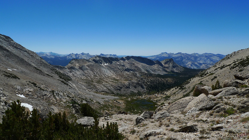 The view from the ridge - towards Young Lakes, Ragged Peak.  Classic Yosemite peaks fill the horizon.