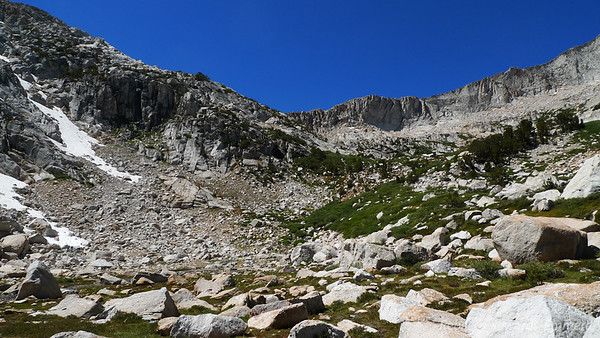 We'll go around that foreground ramp and follow it towards the ridge to a low point (hidden from view in this shot)