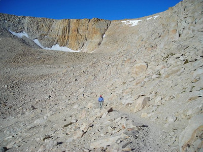Ron hikes up the switchbacks toward the pass.
