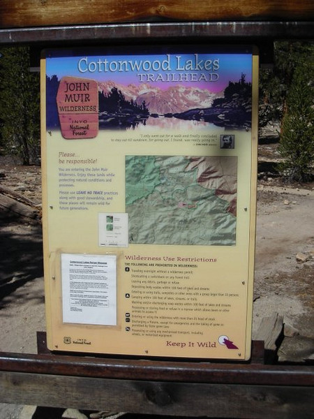 Cottonwood Lakes Trailhead<br /> <br /> The Cottonwood Lakes were 'around the corner' from the lake where we camped.