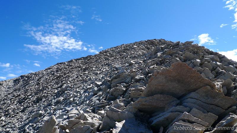 Climbing up the ridge.