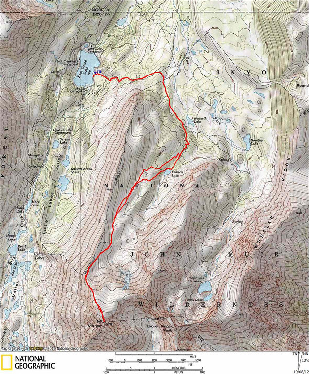 Our GPS track from the climb of Morgan. The only deviation on the descent from the ascent was following the sand further down.