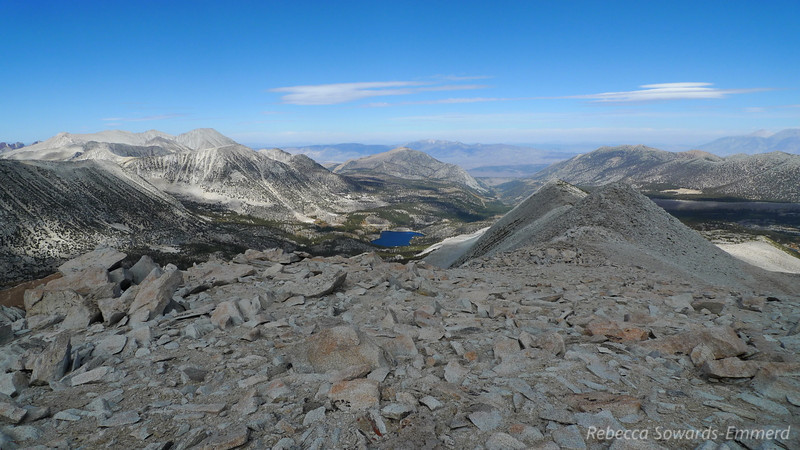 Looking back down the ridge, Rock Creek Lake in the middle (trailhead)