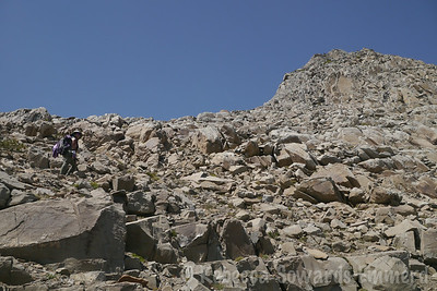 Getting closer to the summit now - still steep rocks but marginally better than the face we came up.