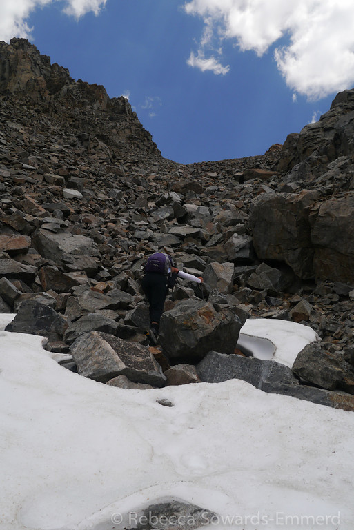 We found a small patch of snow about half way up the chute. Refreshing!