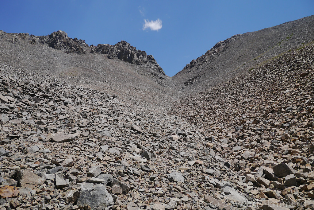 Looking up the chute. The rock was pretty good - some loose but mostly stable.