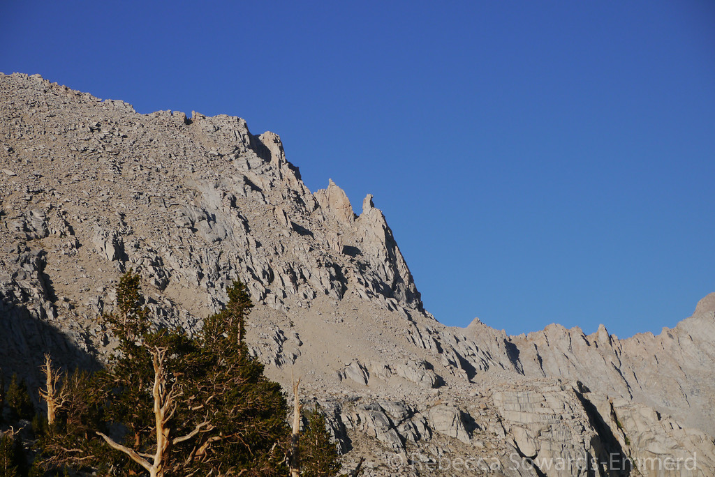 During dinner, we noticed the outcropping on the peak looked like a marmot sitting up. He was our lookout.