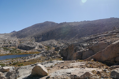We end up climbing through a drainage on sheep trails (lots of evidence of scat and footprints, but no actual sheep sightings). Now we're in the next lakes basin over and we can see Barnard ahead. The next step is to gain the ridge.