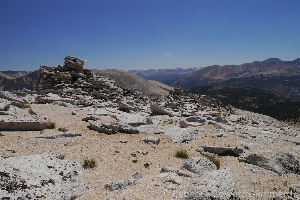 Among the cool rock formations on the ridge.