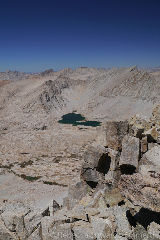 The upper Wright Lake and Mt Tyndall from the summit of Barnard.