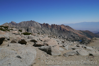 Piute Crags and lower lamarck lake far below. Mt Humpreys on the left.