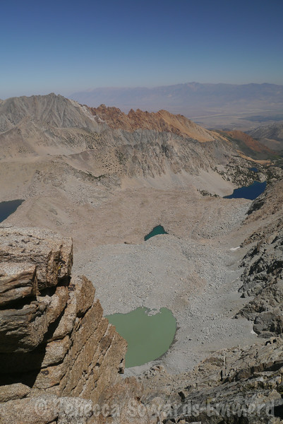 Upper Lamarck, Wishbone and sky High lake, along with an unnamed glacial tarn. Wow, look at that green!