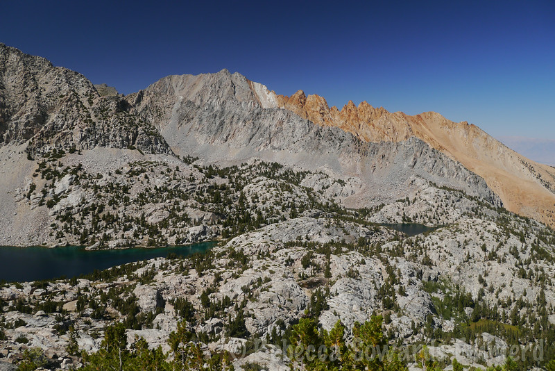 Upper and Lower Lamarck Lakes with Piute Crags in the background.