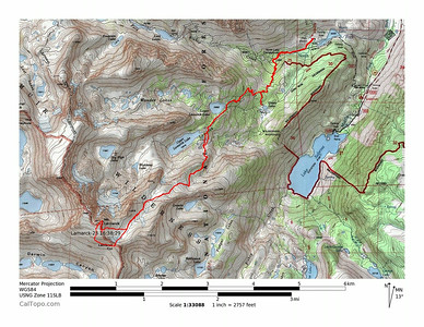Map of my GPS track. I climbed the peak via the south slopes from Lamarck Col, then descended the East face.
