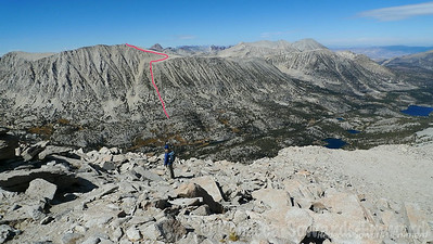I grabbed this picture from our climb up Morgan in 2012 and drew a line on my descent chute. It worked with a bit of scrambling.