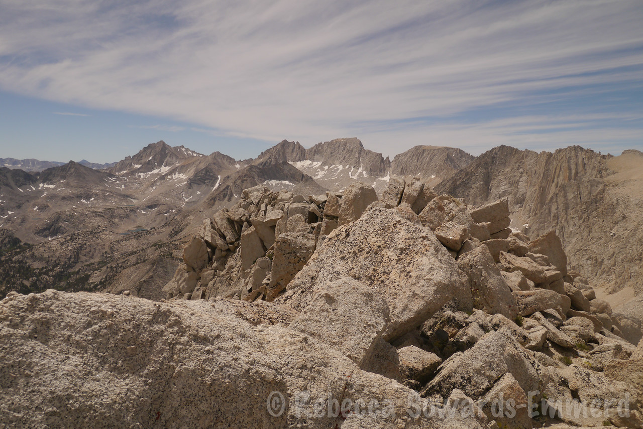 On the summit ridge. I couldn't  figure out which pile of rocks was the summit so I crawled over all of them.