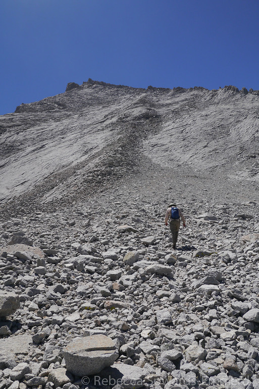 Climbing up the talus. Easy going down here.