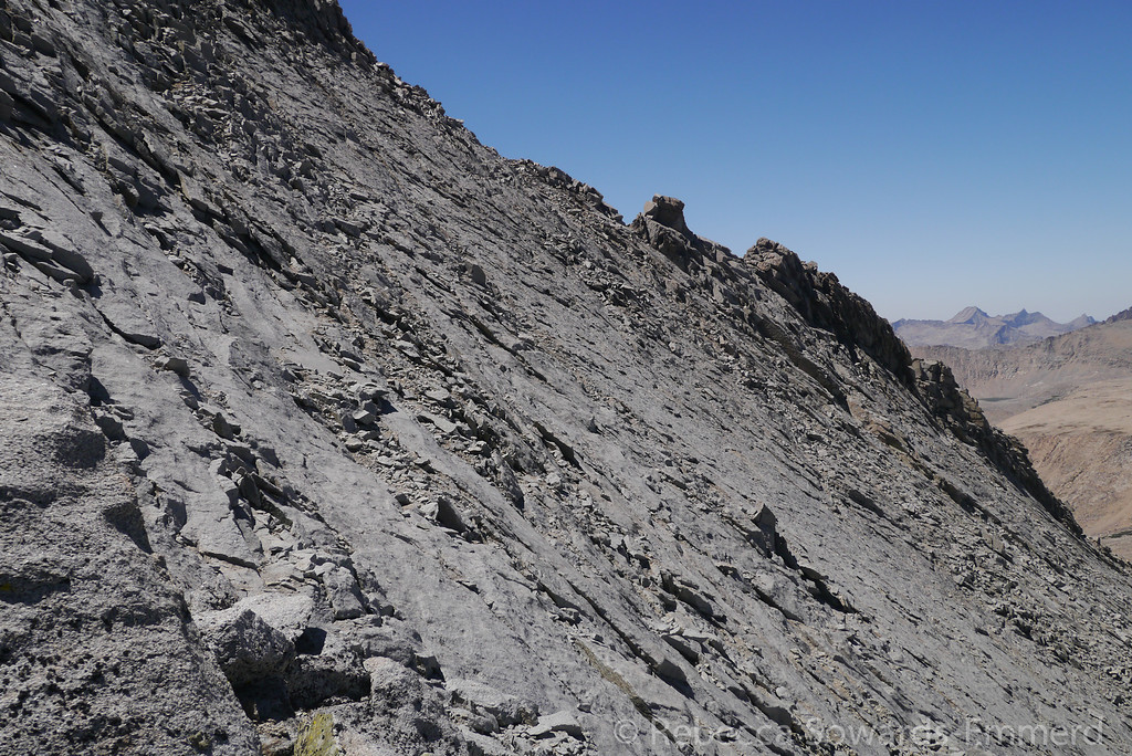 This is the steep and loose stuff we had to traverse across. Nice solid slabs with intermediate loose dirt and rocks.