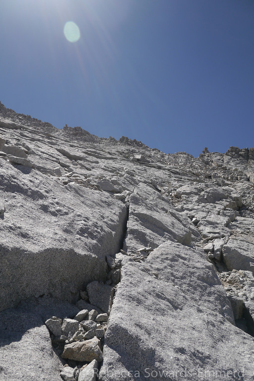 Slabs on the way to the ridge. Still positive I'm aiming for the proper notch.