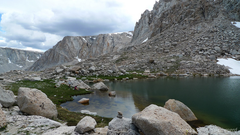 Lake #6. Notice the clouds getting darker - looks like we made the right choice, staying off the ridge.