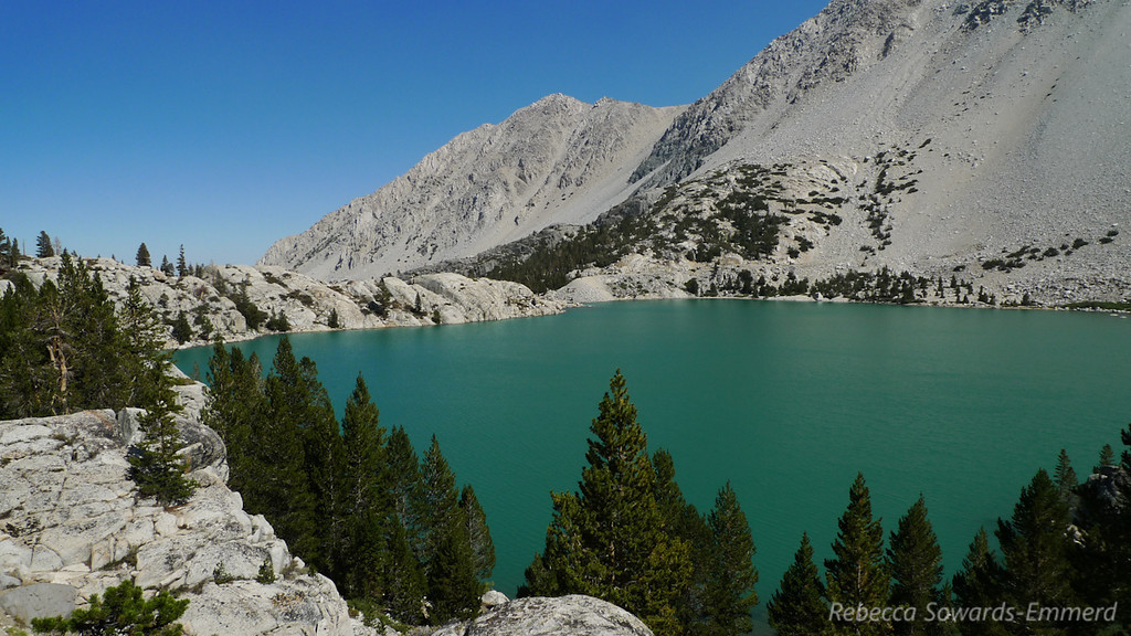 Second Lake. The opaque turquoise color comes from the glacial silt from the Palisade glacier above.