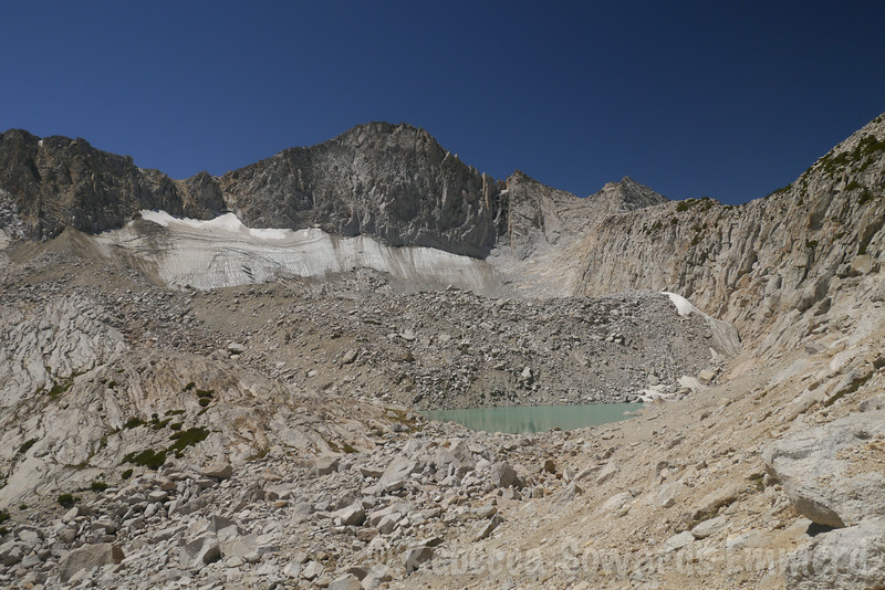 Yep, here's a higher lake! And a great view of Mt Conness and its glacier, the largest in the range north of Tioga Pass.