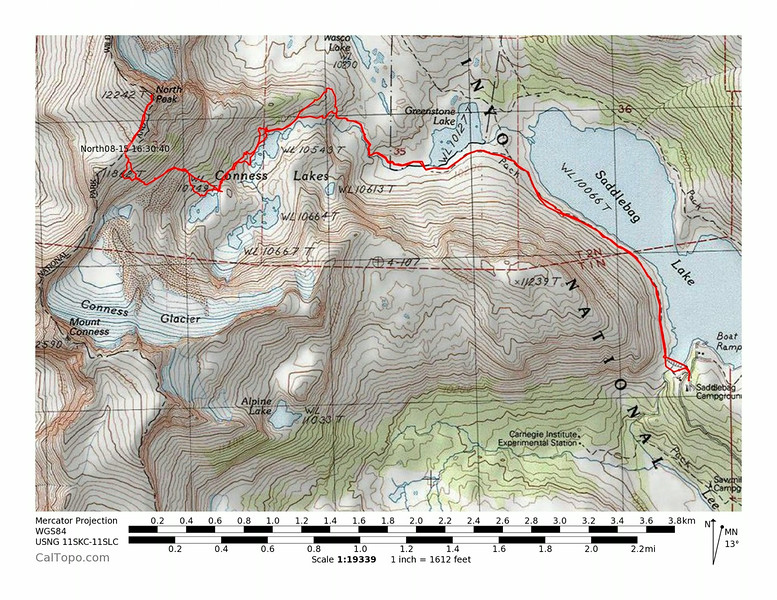 Map and GPS track of our route up and down North Peak.