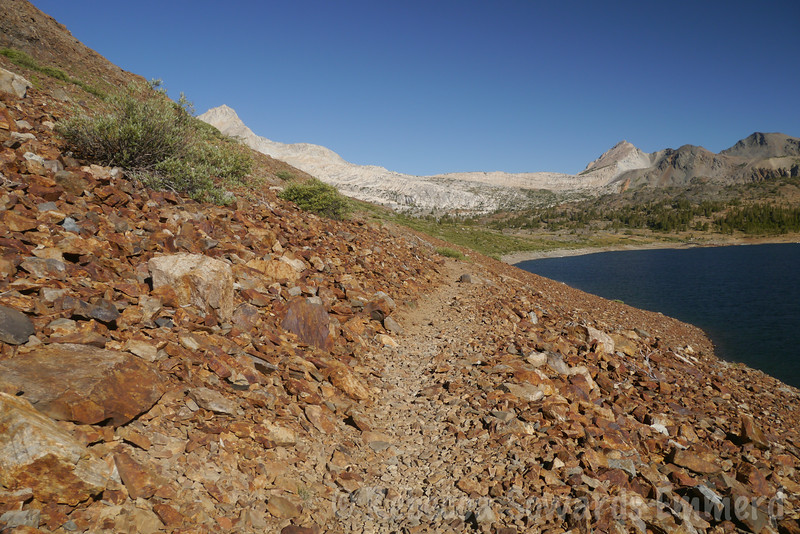 The hike to North Peak starts at Saddlebag Lake. You can cut off some distance by taking the ferry across the lake, but not us. No cheating!