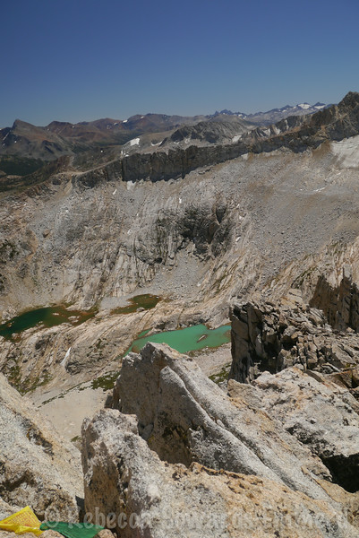 Looking down on the Conness Lakes