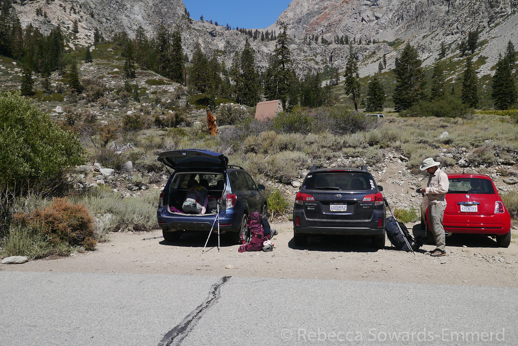 Packing up at the trailhead. Onion Valley was packed yet we pulled right in at these two great spots. Good sign!