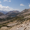 Looking west from Kearsarge Pass down on Bullfrog Lake