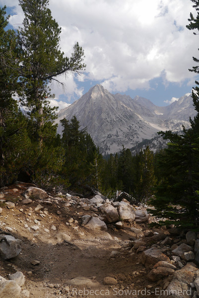 East Vidette from the trail as it descends from the JMT junction to Vidette Meadow.