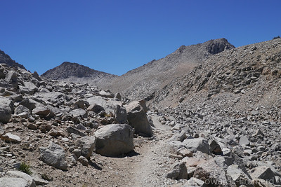 Getting closer to the pass. The trail contours along the slope and then switchbacks up to the pass.