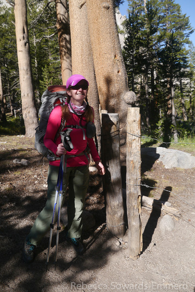 Pavla at the grazing gate in Vidette Meadow