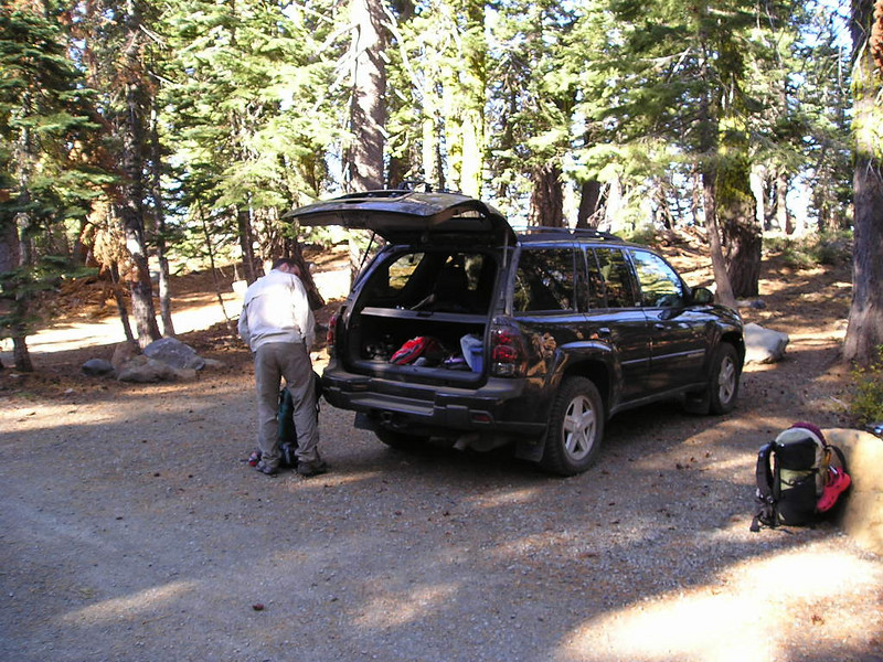 Packing up at the trailhead.
