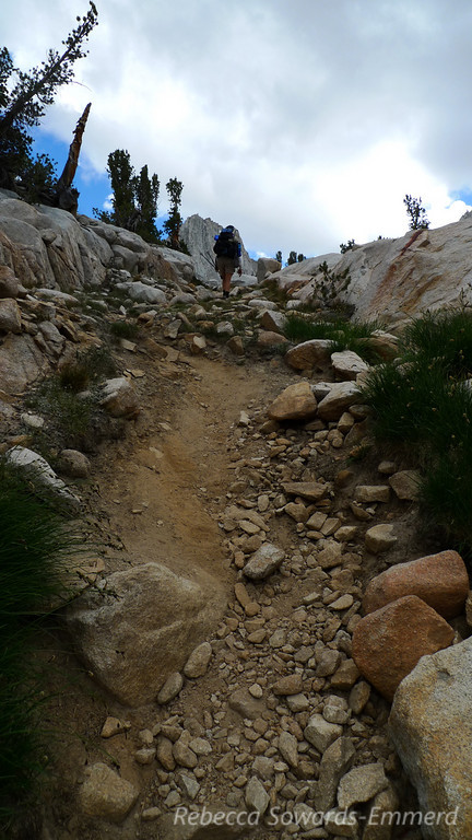 Rocky and mostly unmaintained trail. Still easy to follow for the most part. Where it fades away cairns are pretty accurate.