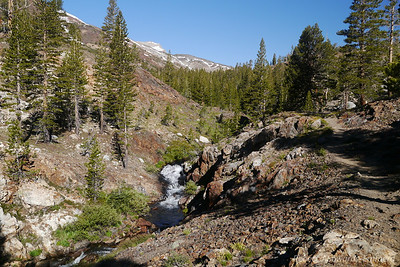 Walking up Mine Creek. The trail goes straight from our campsite about 3/4 mile to the old town site.