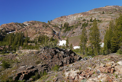 In the distance, a waterfall coming down near an adit by the old townsite of Bennetville.