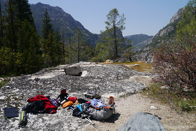At camp near Rancheria Falls - my pack always explodes when I find camp.