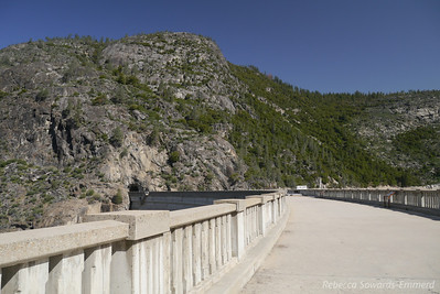 Walking across the O'Shaughnessy Dam at the western end of Hetch Hetchy reservoir.