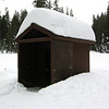 The functioning outhouse at Summit meadow. You know the snow isn't very deep right now - I've seen this nearly buried.