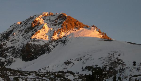 Sunset glow on Round Top Peak.