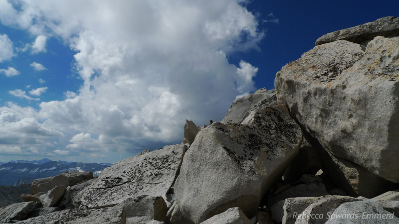 Rock piles on Royce. Notice how that distant storm is now going out of view as I continued on to the summit pile.