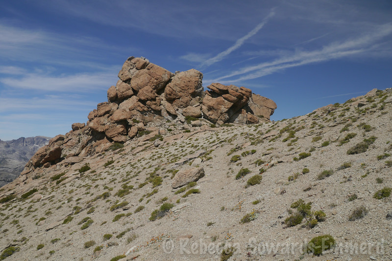 The class 3 rock pile that makes up the lower of the Two Teats