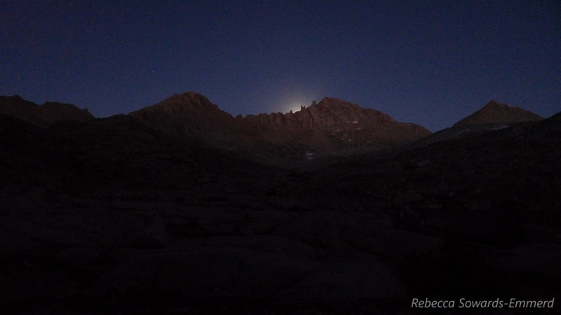 That's the glow of the moon rising behind Feather Peak