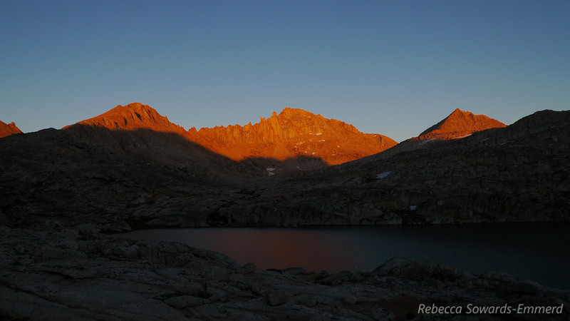 Sunset on Feather Peak, we're finally back at camp and exhausted after a great day.